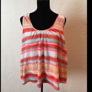 Meadow Rue Split Back Sleeveless Top Orange
